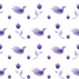Seamless pattern abstract flowers, birds Royalty Free Stock Photo