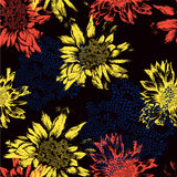 Seamless pattern with abstract flowers on black ba Stock Photography
