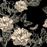 Seamless pattern with abstract flowers bloom and b. Utterflies, hand-drawing. Vector illustration Royalty Free Stock Photo
