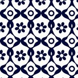 Blue geometric pattern of abstract flower. Seamless pattern of abstract flowers, blue geometry Stock Photo