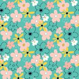 Seamless pattern with abstract flowers. Bright floral background with a blue background stock illustration