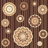 Seamless pattern with abstract flowers in brown Royalty Free Stock Photo
