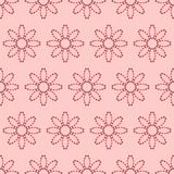Seamless pattern with abstract flowers of dotted lines. Vector background in shades of pink stock illustration