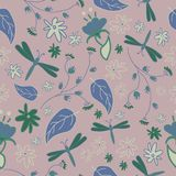 Seamless pattern with abstract flowers and dragonflies. On the violet background Stock Photo