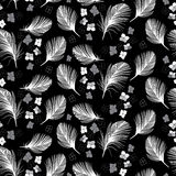 Seamless  pattern with abstract flowers and feathers. Hand Royalty Free Stock Photo