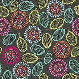 Seamless pattern of abstract flowers. Hand-drawn floral backgrou Royalty Free Stock Photo
