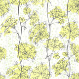 Seamless pattern of abstract flowers. Hand-drawn floral backgrou Royalty Free Stock Photography