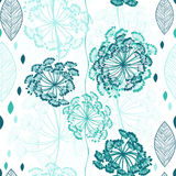 Seamless pattern of abstract flowers. Hand-drawn floral backgrou Stock Photography