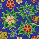 Seamless pattern, abstract of flowers and leaves of different colors in stripes Stock Image
