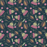 Seamless pattern from abstract flowers. Royalty Free Stock Image