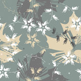 Seamless pattern with abstract flowers and leaves Stock Photos