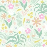 Abstract background with flowers. Seamless pattern with abstract flowers and plants on a light background. Hand-drawn background in a vector stock illustration