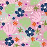 Abstract background with flowers. Seamless pattern with abstract flowers and plants on a pink background. Hand-drawn background in a vector vector illustration
