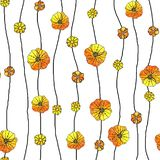 Seamless pattern of abstract flowers poppy, sunflower. Graphics on a watercolor background, for the design of backgrounds,. Packages, wrappers, wallpapers stock illustration