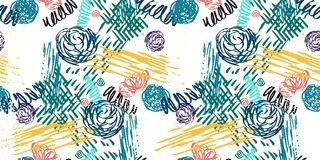 Seamless pattern with abstract flowers. Royalty Free Stock Image