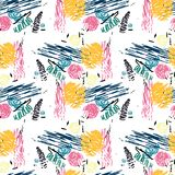 Seamless pattern with abstract flowers. Stock Photography
