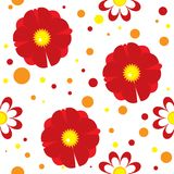 Seamless pattern with abstract flowers and spots Royalty Free Stock Photography