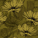Seamless pattern with abstract flowers. Vector. Stock Images