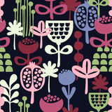 Seamless pattern with abstract flowers. Royalty Free Stock Photos