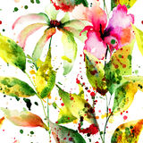 Seamless pattern with abstract flowers. Watercolor painting Royalty Free Stock Photo