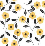 Seamless pattern with abstract flowers. On white background Royalty Free Stock Photo