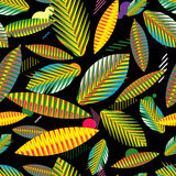 Seamless pattern, abstract geometric tropical leaves Stock Images