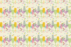 Seamless pattern from abstract glasses in retro colors Royalty Free Stock Image