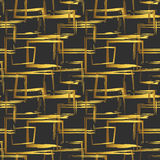 Seamless pattern with abstract golden geometric figures on black background. Vector design elements.  Stock Photos