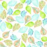 Seamless pattern with abstract green, brown and blue leaves painted in watercolor on a white background Royalty Free Stock Images
