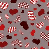 Pattern with abstract red,white and burgundy hearts vector illustration