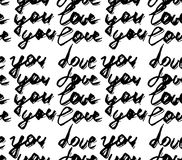 Seamless pattern with abstract handwriting modern ink text. I love  you pattern  . Black Ink illustration. Hand drawn brush modern Stock Images