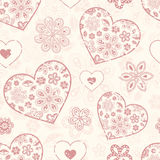 Seamless pattern with abstract hearts Royalty Free Stock Photo