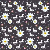 Seamless pattern with abstract horses and little roses, daisies and forget me not flowers.  royalty free illustration