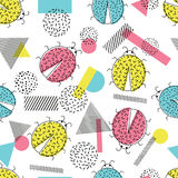 Seamless pattern with abstract ladybugs and geometric shapes, memphis style. Stock Photo