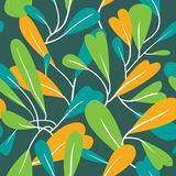 Seamless pattern with abstract leaves. Background with stulish l. Eaf. Vector illustration for seasonal textile, wallpapers, design elements and surfaces royalty free illustration