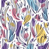 Seamless pattern of abstract leaves, flowers and spots on a white background. Vector royalty free illustration