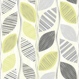 Seamless pattern  of abstract leaves. Hand-drawn floral backgrou Stock Photos