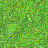 Seamless pattern with abstract linear leaves in shades of green. stock illustration