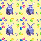 Seamless pattern of abstract multicolor and blue Bunny, pink bow and colorful Easter eggs. Watercolor illustration isolated on vector illustration