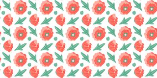 Seamless pattern of abstract open and closed buds of poppies without stems and leaves on a white background. Vector stock illustration