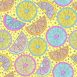 Seamless pattern with abstract oranges Stock Image