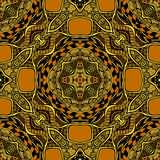 Seamless pattern from abstract  ornament black orange. Colors in East or Arabic style for decorate clothe interior or for making  computer game or for package Stock Image