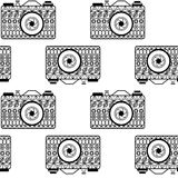Seamless pattern with abstract ornamental cameras Royalty Free Stock Photo