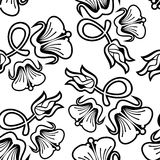 Seamless pattern with abstract outline flowers on a white background. Raster clip art vector illustration