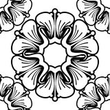 Seamless pattern with abstract outline flowers on a white background. Raster clip art royalty free illustration