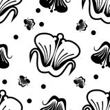 Seamless pattern with abstract outline flowers on a white background. Raster clip art stock illustration