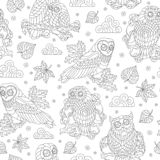 Seamless illustration with abstract owls, leaves and flowers, dark outline illustration on white background. Seamless pattern with abstract owls, leaves and stock illustration