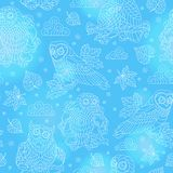 Seamless illustration with abstract owls, leaves and flowers, light outline illustration on blue background. Seamless pattern with abstract owls, leaves and stock illustration