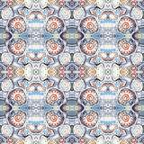 Seamless pattern. Abstract painted background with orange,brown and blue water blots. Kaleidoscopic seamless pattern. stock images