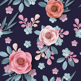 Seamless pattern with abstract paper flowers, floral background. Elegant texture for backgrounds. 3D elements with shadows and highlights. Paper cut. Template royalty free illustration